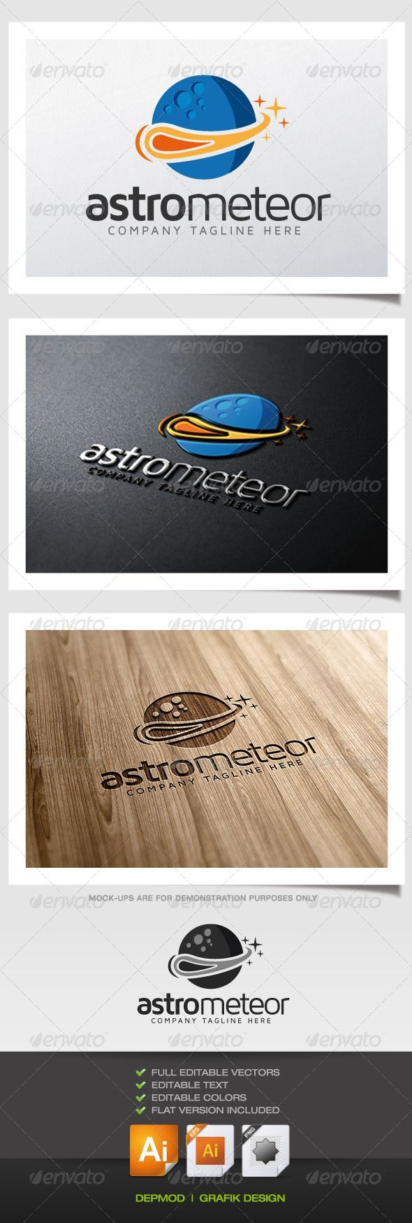 Astro Meteor Logo — Vector EPS #clear #meteor • Available here → https://graphicriver.net/item/astro-meteor-logo/5476194?ref=pxcr