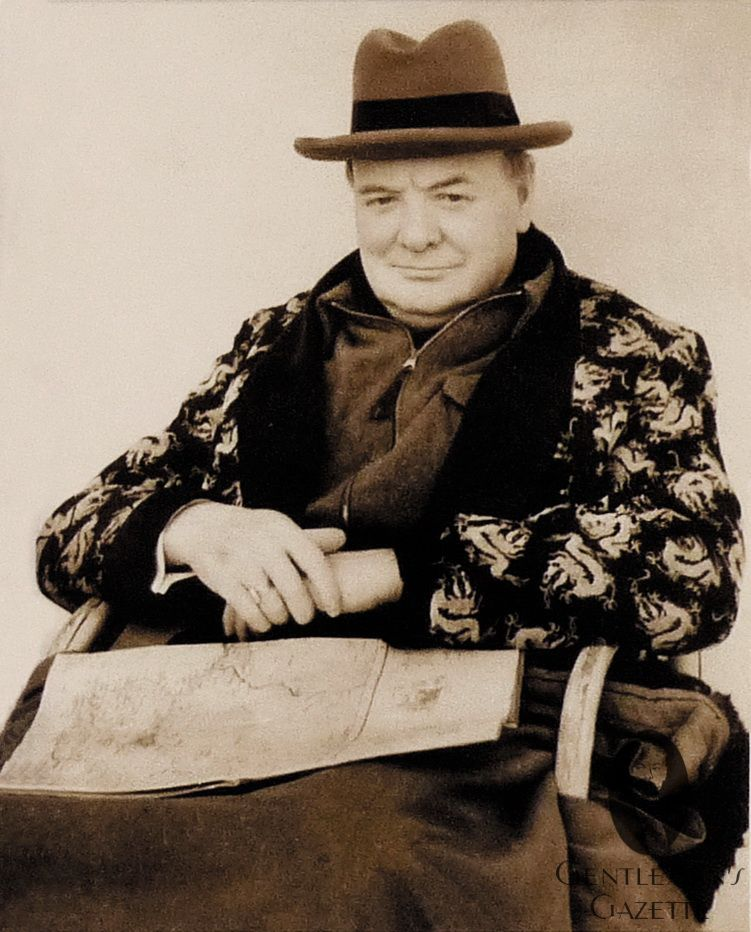 a9efb0d2345 Winston Churchill in Homburg Hat   Dressing Gown