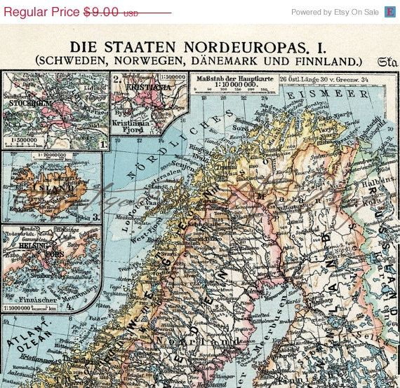 Sweden norway denmark finland northern europe antique map 1930s sweden norway denmark finland northern europe antique map 1930s original lithograph on etsy 1000 gumiabroncs Images
