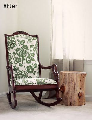 Like This Fabric And Stain Combination Upholstered Rocking Chairs Rocking Chair Makeover Old Rocking Chairs