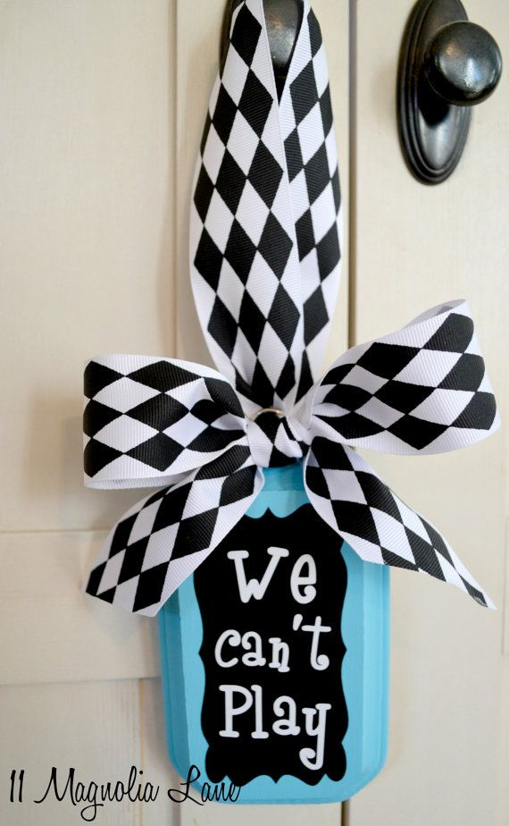"""Sanity-Saving """"We Can't Play"""" Turquoise or Coral Door Hanger/ Sign on Etsy, $14.00"""