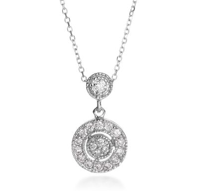 50825fbbc44c1f Michael C. Fina - Signature Collection 14K White Gold Pave Diamond Circle  Drop Pendant (Available at Michael C. Fina)