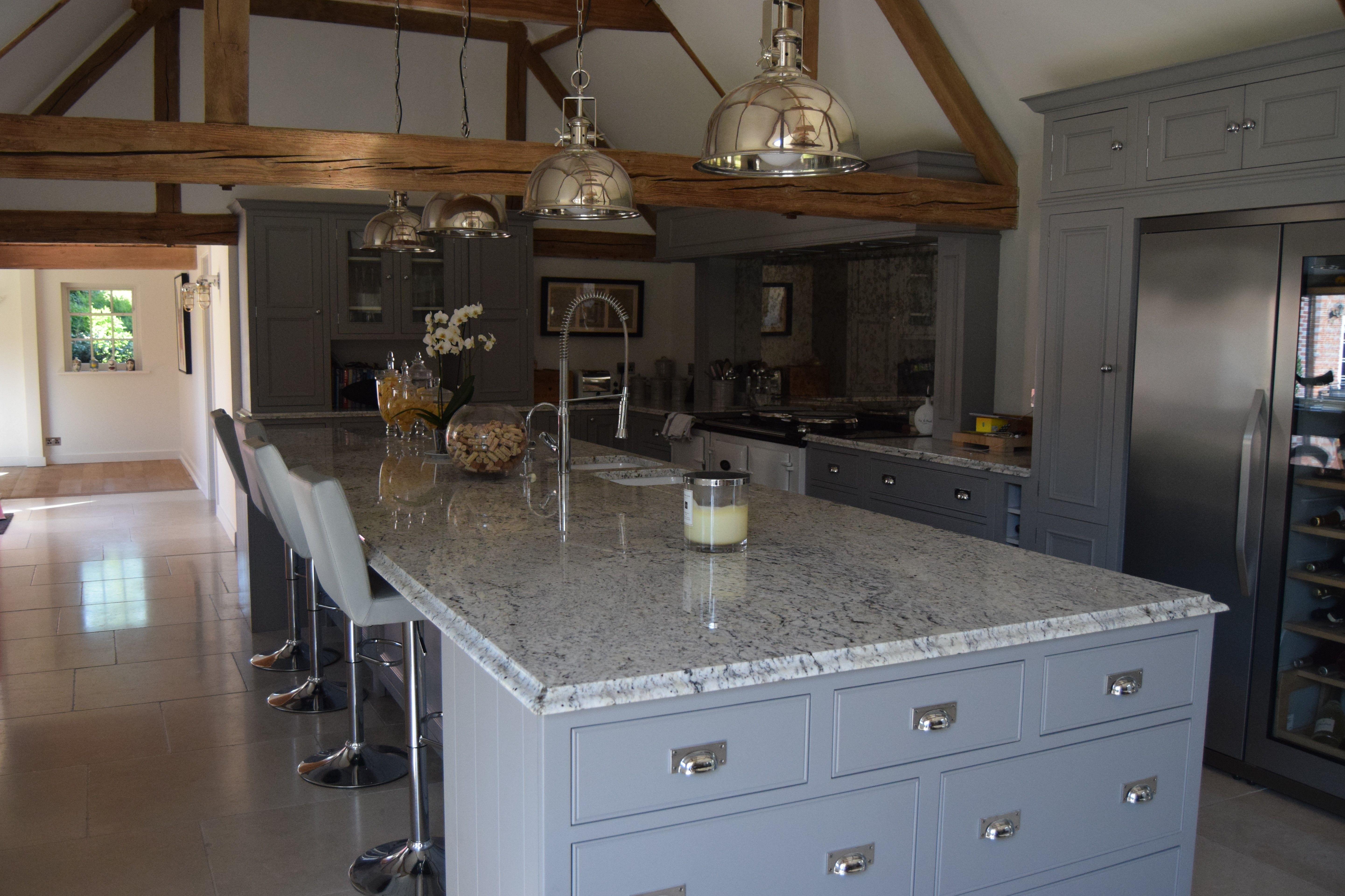 Magnificent Kitchen Island In White Ice Granite