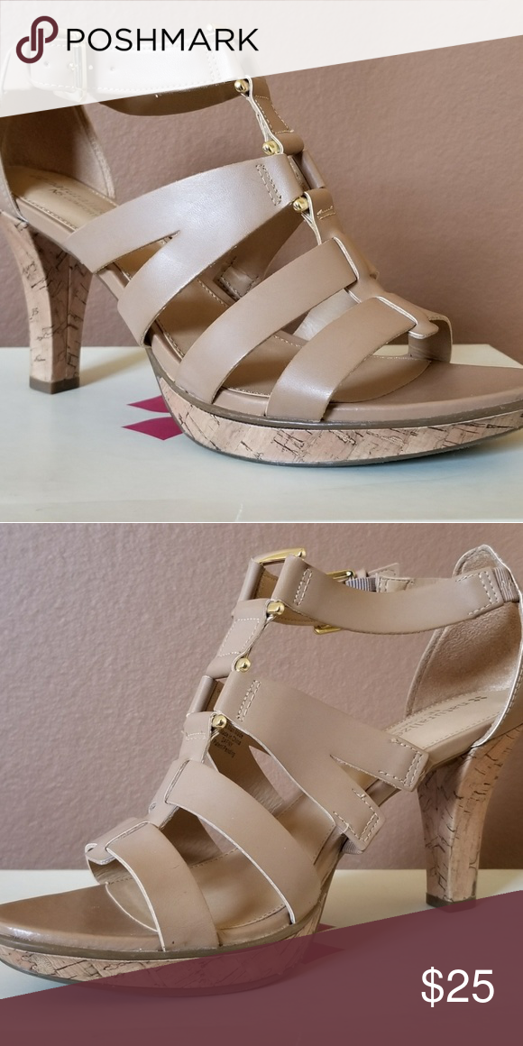 746647bee5c Naturalizer Dafny nude Cagged Sandals Heel is about 2-3 inches. Very  comfortable shoes