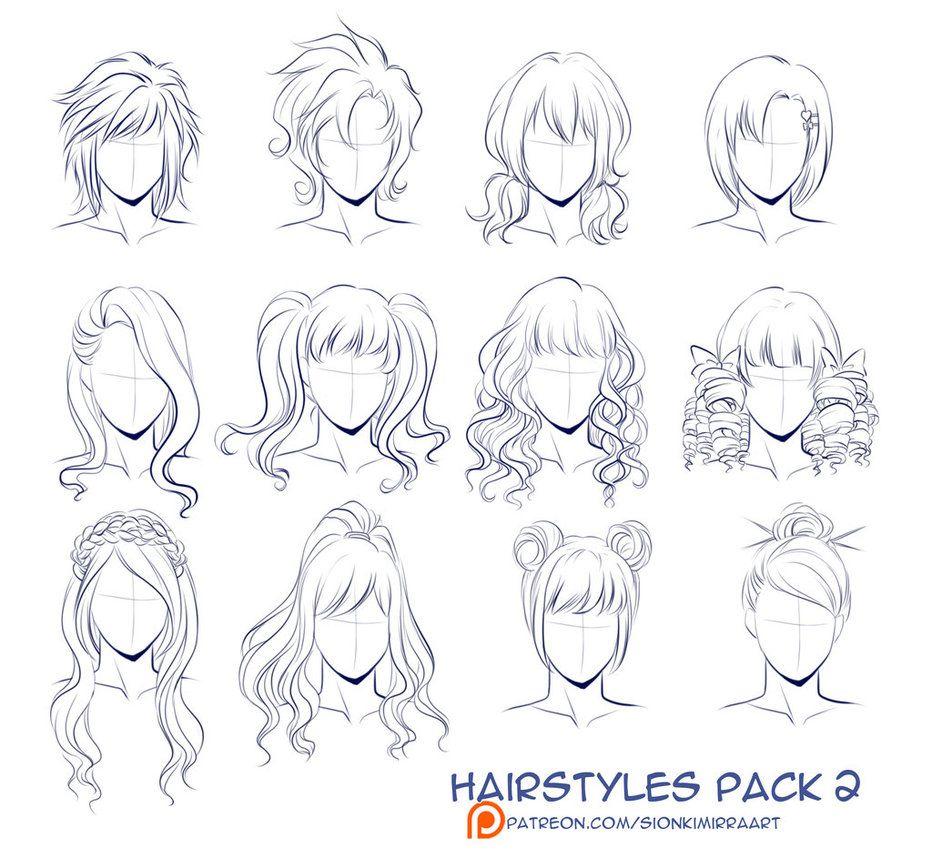 Hairstyles Pack 2 By Kimir Ra Drawings Hair Sketch Character Drawing
