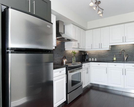 Modern Artistic Condo Applying White and Gray Condo Theme Sleek - küche spritzschutz glas