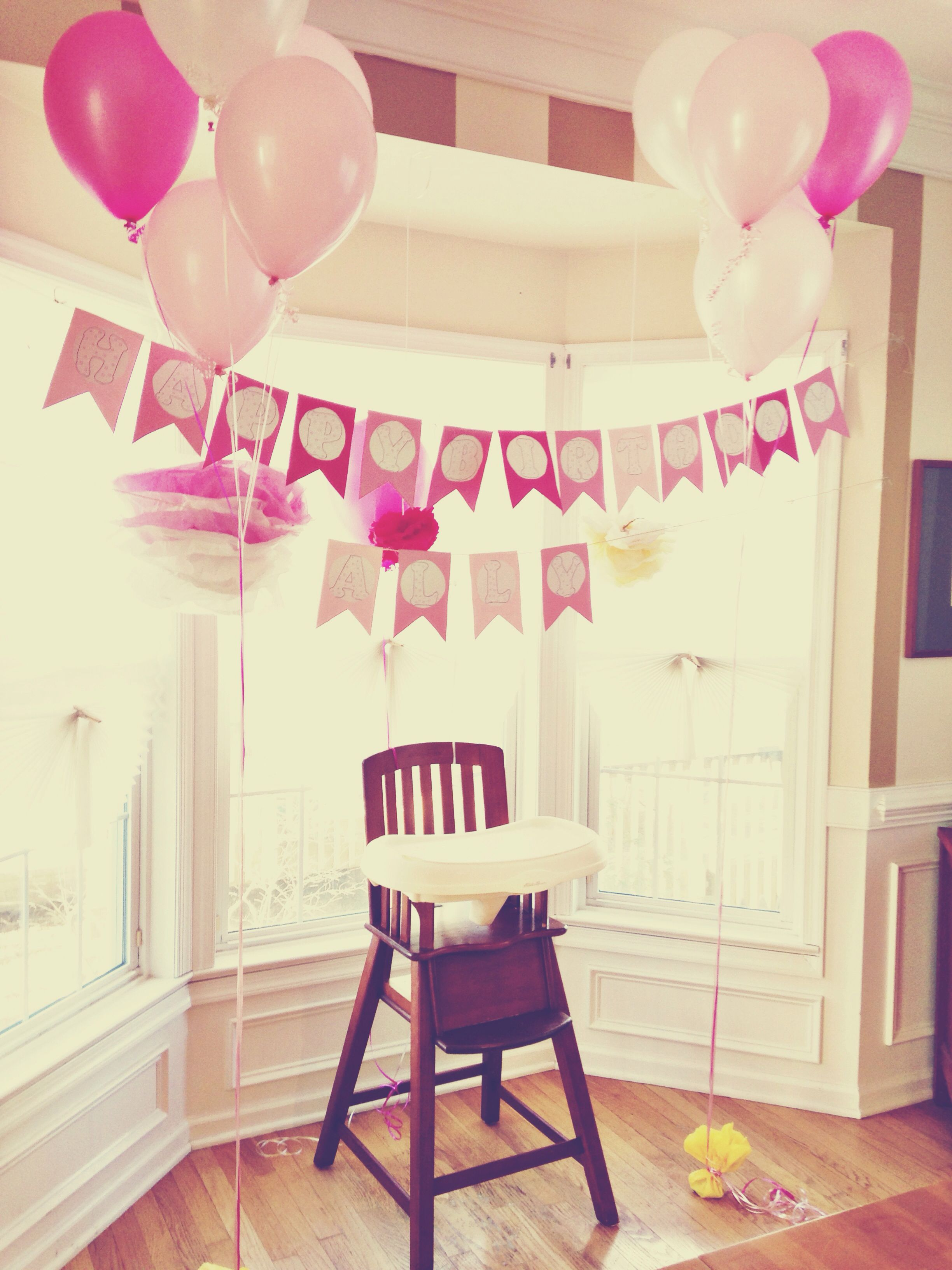 Baby Girls First Birthday Highchair Decor No Balloons Ugh 1st