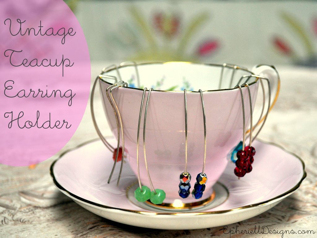 Vintage Teacup Earring holder Great excuse to go thrift shopping