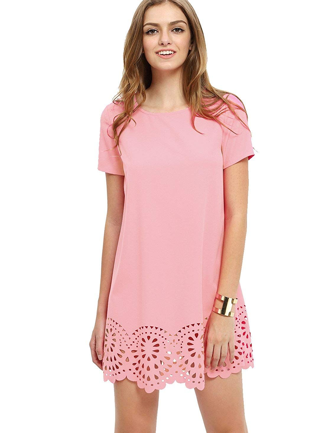 a2b224846e2a SheIn Women's Crew Neck Short Sleeve Hollow Shift Dress at Amazon Women's  Clothing store: