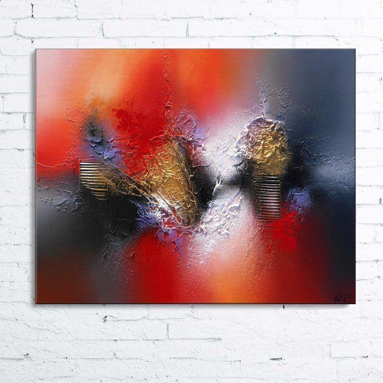 Dsiban tableau abstrait moderne contemporain peinture acrylique en relief noir gris rouge orange - Tableau peinture acrylique moderne ...