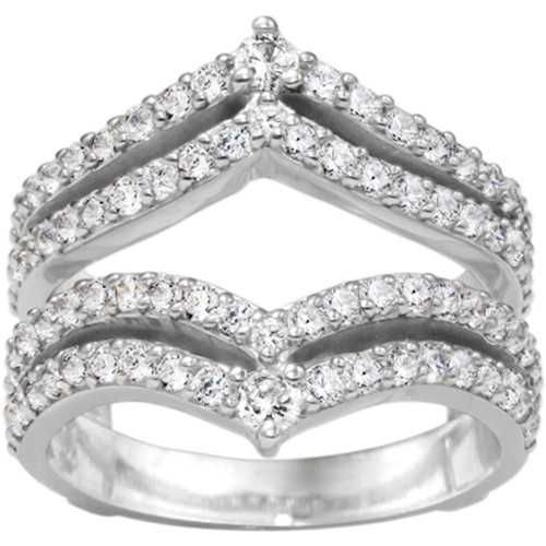 cz ring guards and enhancers sterling silver wedding ring enhancer 053ct cubic - Wedding Ring Enhancers