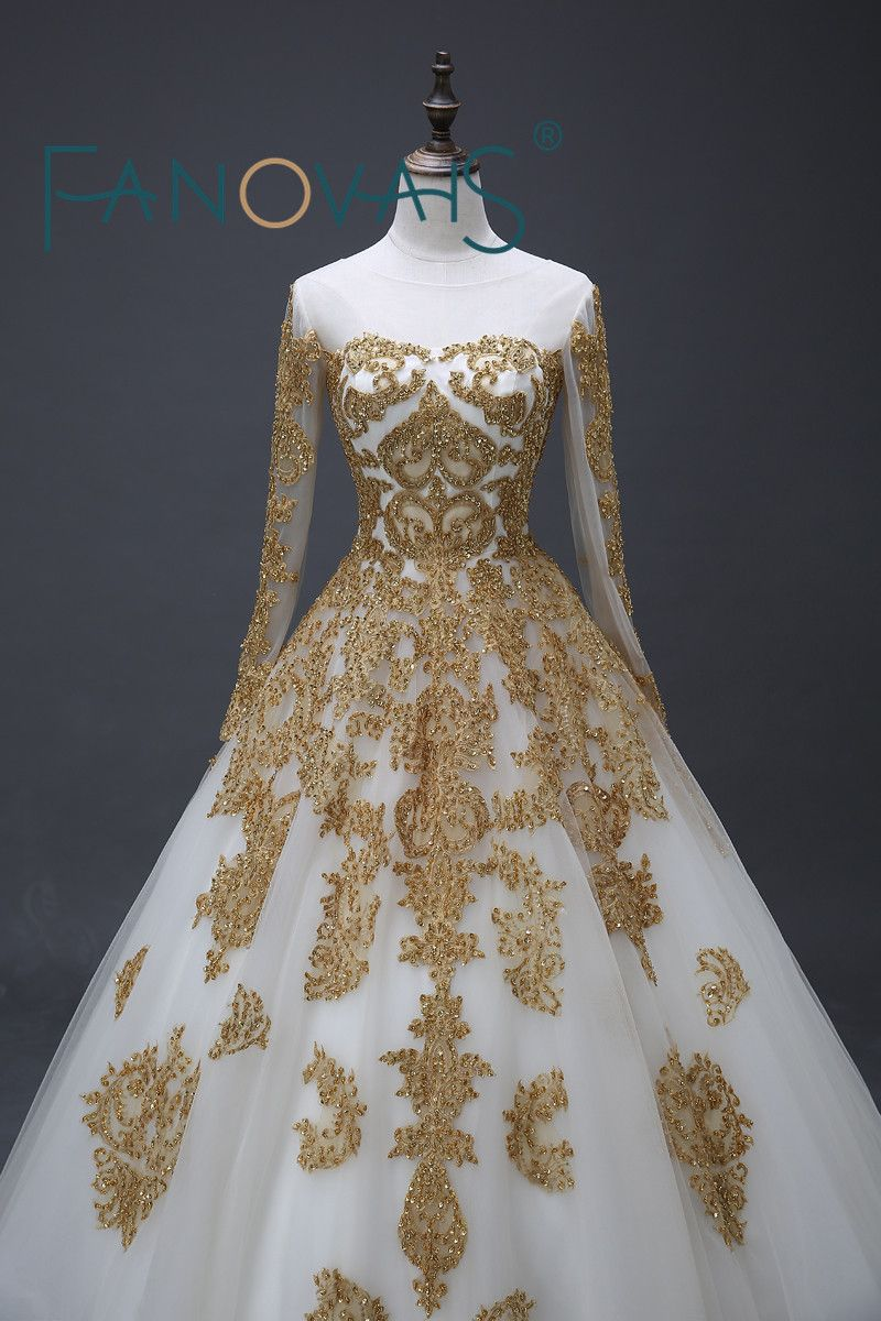 Free shipping buy best stunning muslim wedding dresses gold