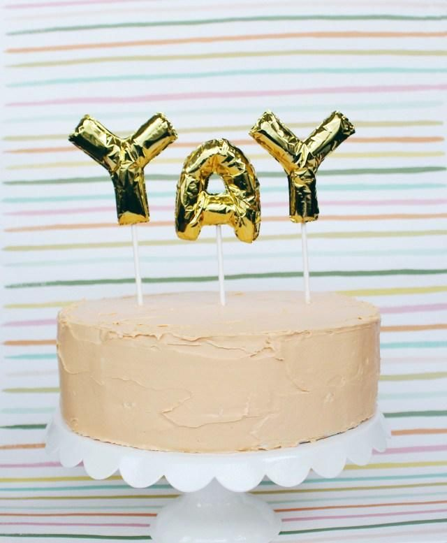 YAY For DIY Mini Foil Letter Balloon Cake Toppers