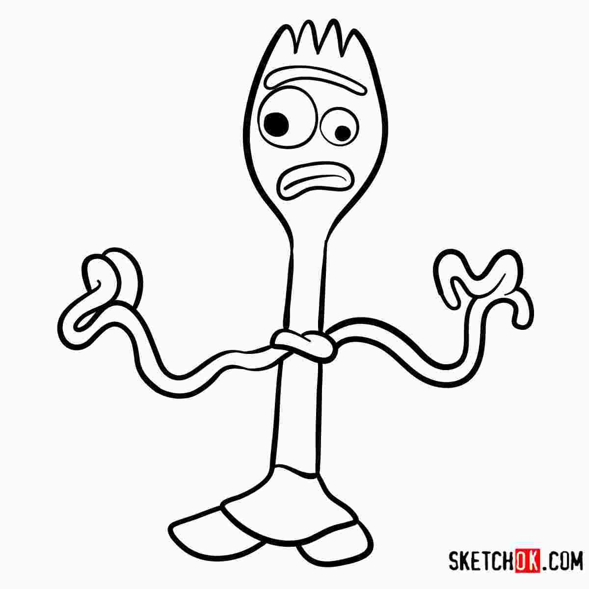 Forky Face Coloring Page Easy Disney Drawings Disney Character Drawings Disney Drawing Tutorial