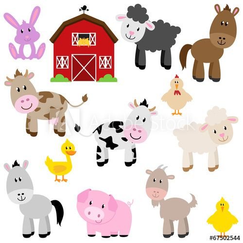 Vector Collection Of Cute Cartoon Farm Animals And Barn Animal Clipart Barnyard Animals Farm Animals