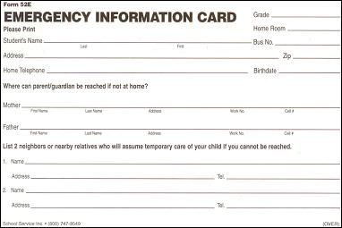 Printable Emergency Contact Cards School Card Template