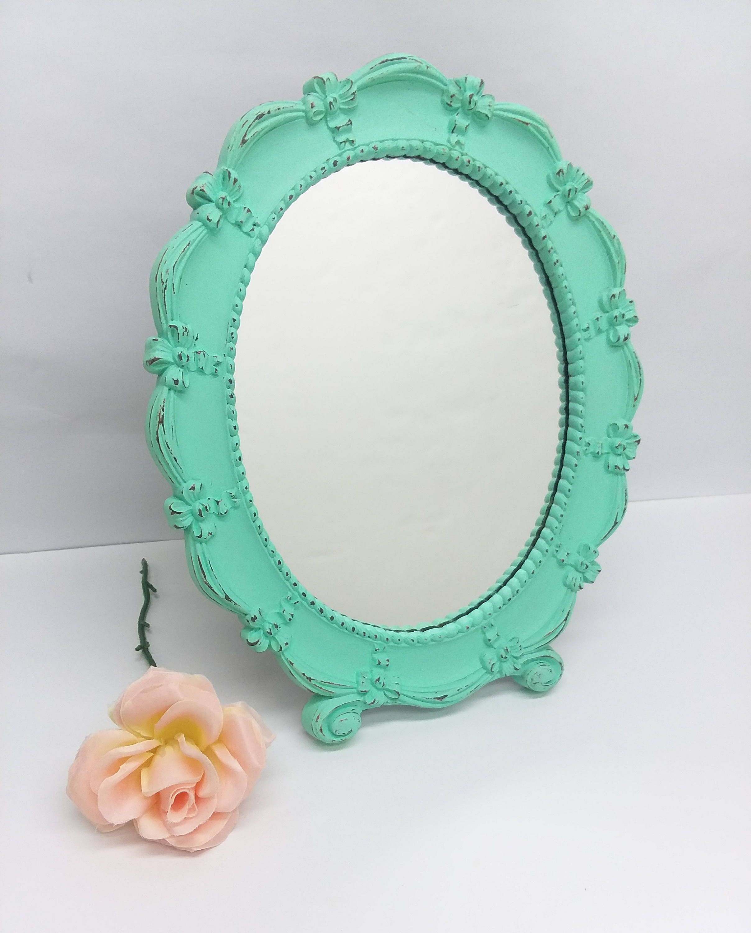 Small Rustic Shabby Chic Vintage Vanity Mirror Painted Mint Green
