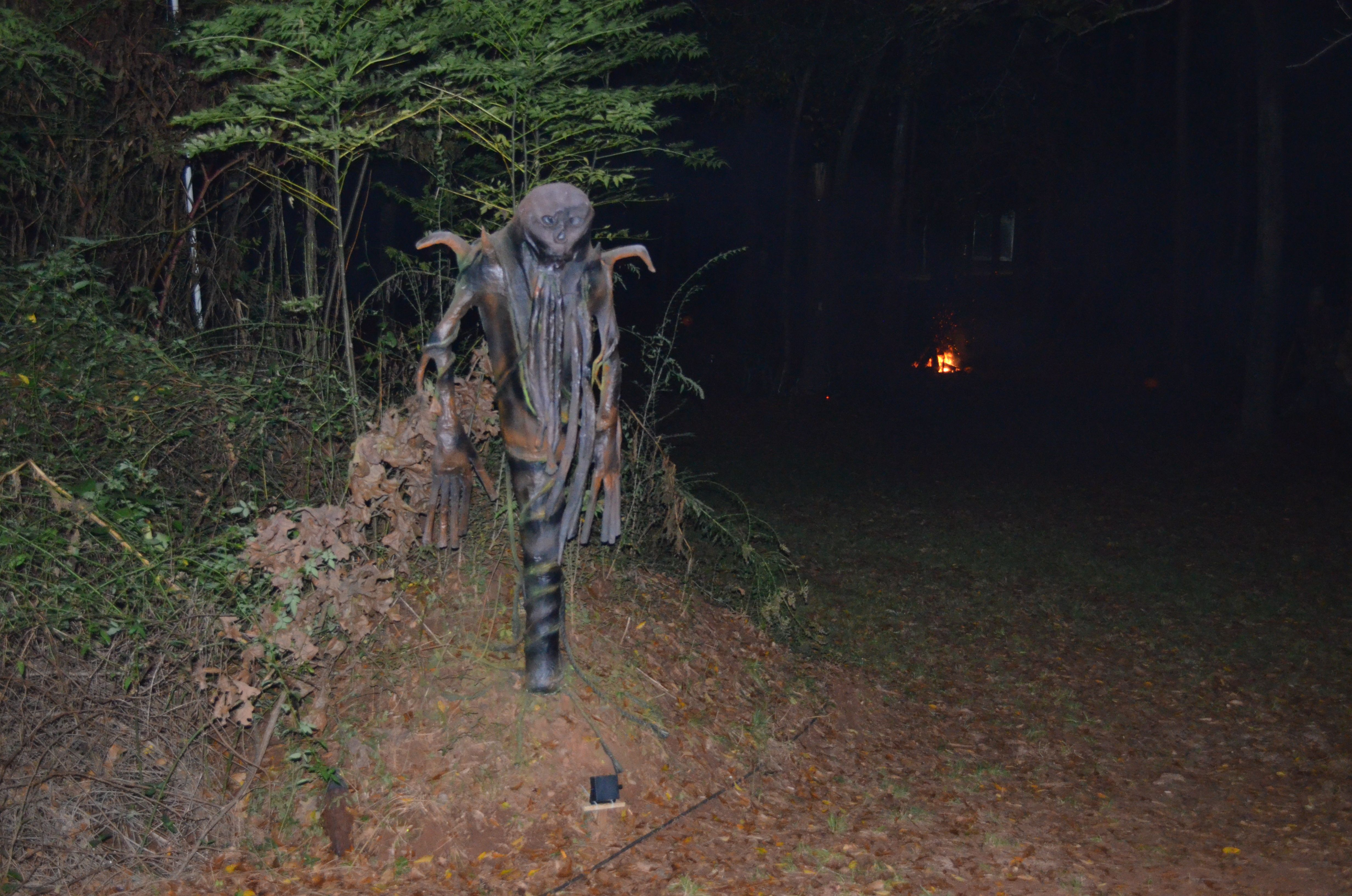 This is my Root Scarecrow i made..the colors show different according to lighting. The process is shown here in Halloween Projects we made on Pinterest. He is paper mache, and many pieces of misc. and inspired by pumpkinrot .. this is made by Annette Elrod 2014