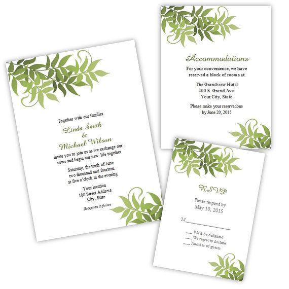 Trailing Vines Wedding Suite Invitation Rsvp By Ajsprints 16 00 Wedding Invitations Diy Wedding Invitations Printable Templates Vines Wedding