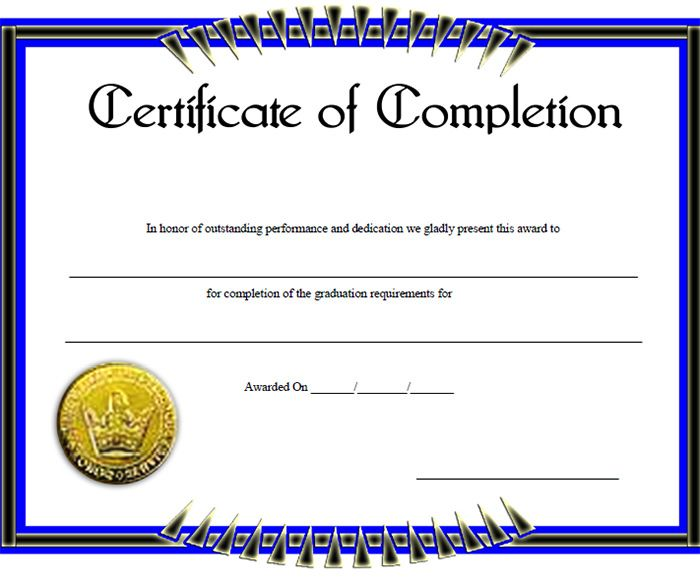 Certificate of Completion Template 31 Free Word PDF PSD EPS – Blank Certificate of Attendance
