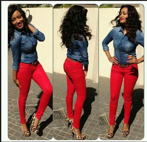 Red jeans with leopard heels!  41a10c0f3f1
