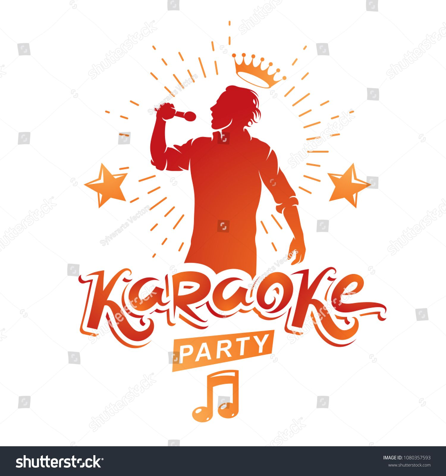 Karaoke party advertising poster composed with stage or ...