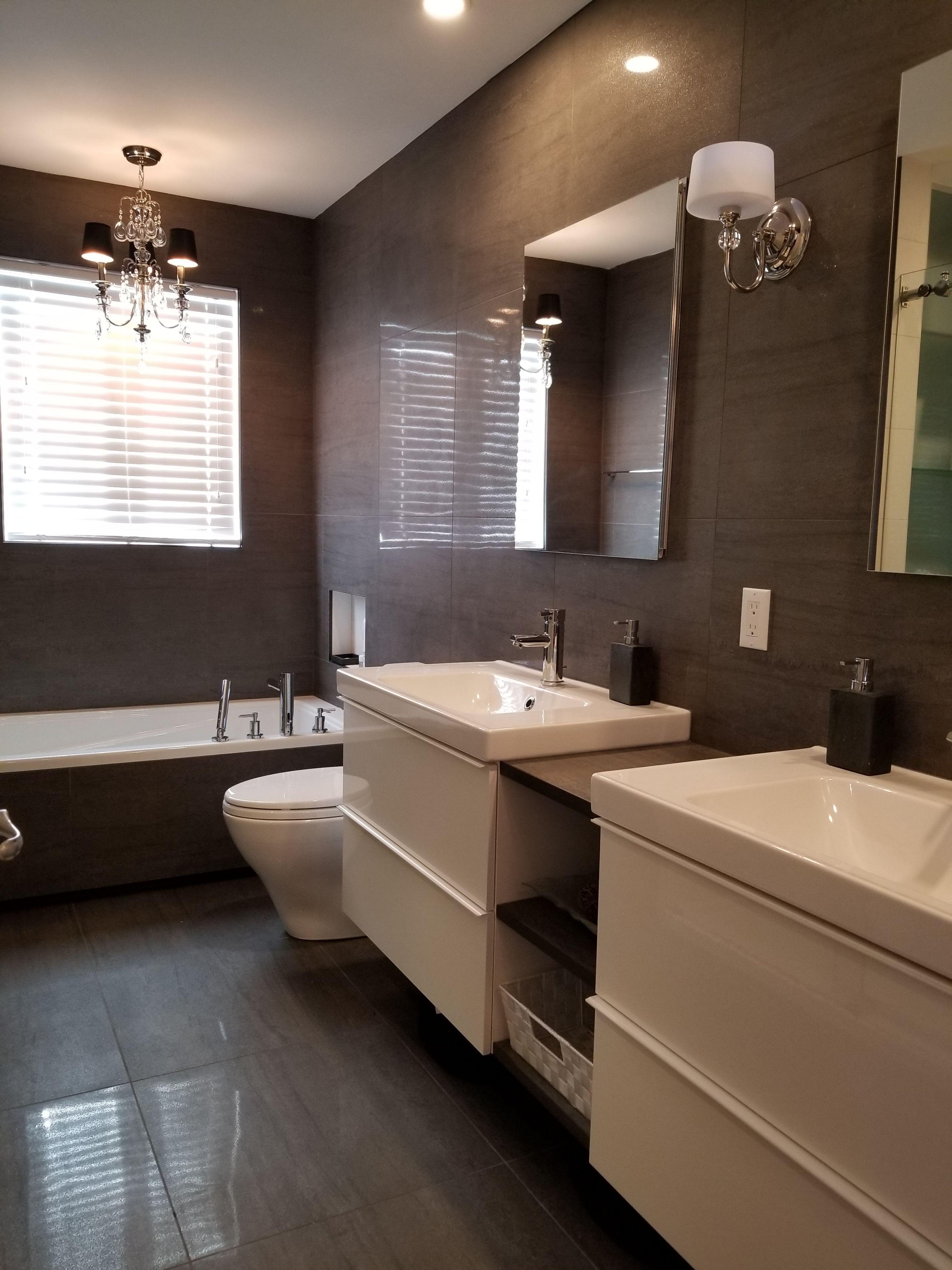 Salle de bain au style chic bling bling vanit s ikea Eclairage salle de bain ikea