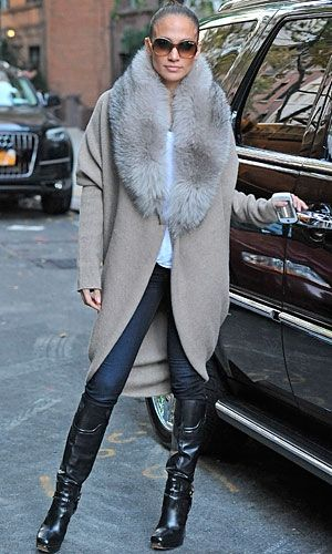 52ee0b4e710 Jennifer Lopez in a large fur collar cardigan with jeans and knee-high  boots...Im Sooo in LOVE with this coat!