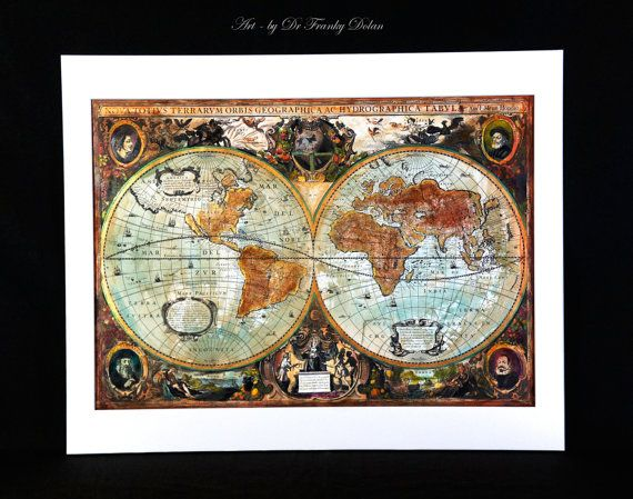 Hand painted old world map antique globe map matted by faefactory hand painted old world map antique globe map matted by faefactory gumiabroncs Images