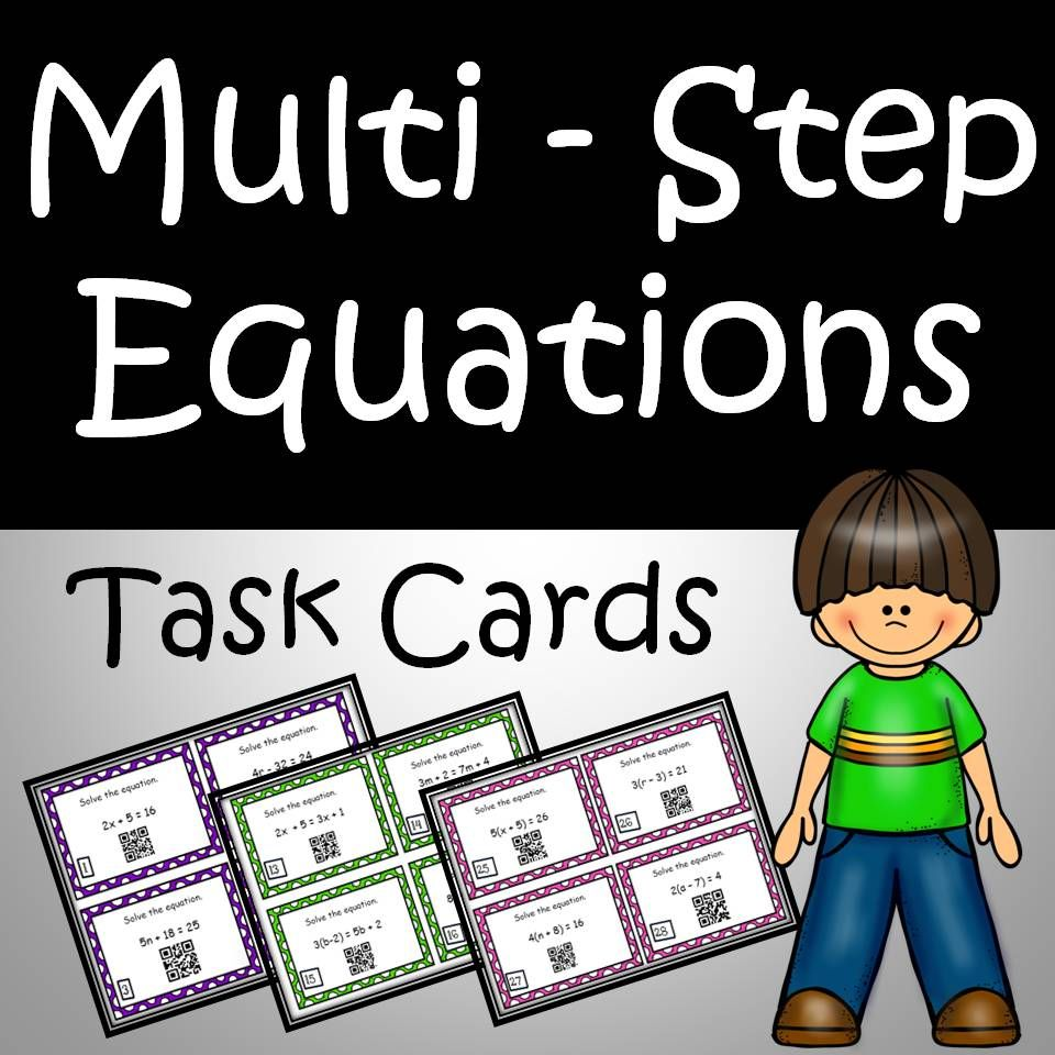 Solving Equations Task Cards & Worksheets Common Core