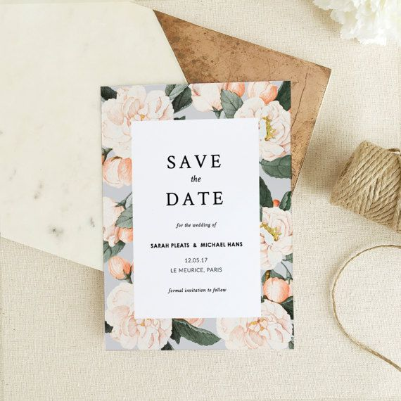 Print Your Own Wedding Invitations Templates: Save The Date Template • Printable Save The Date • Vintage