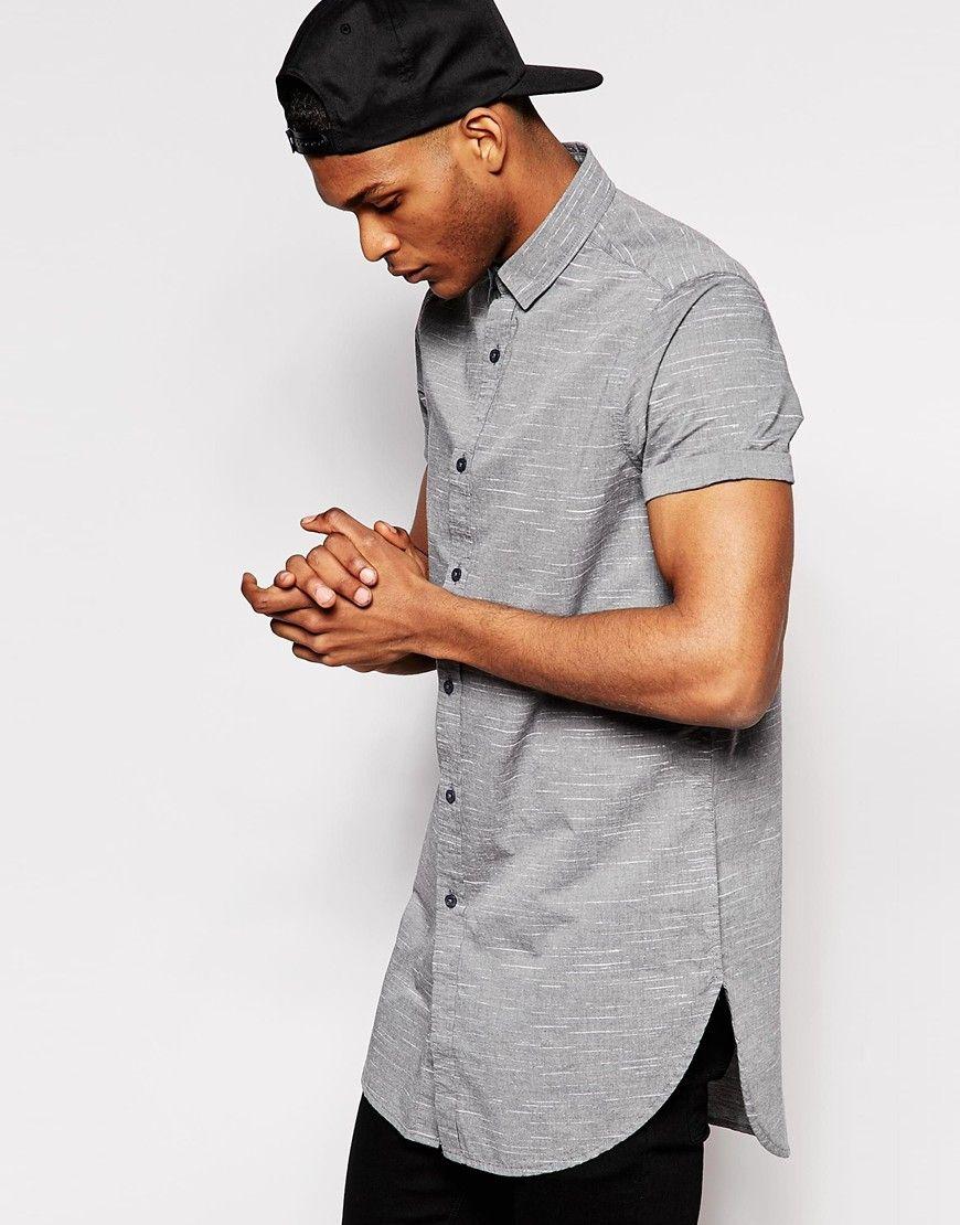 ASOS Super Longline Shirt In Short Sleeve With Spacedye