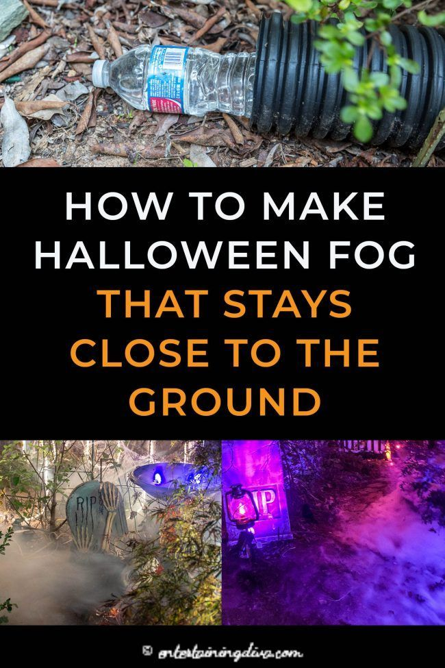 Learn how to make low lying fog that will have your Halloween graveyard or party looking spooky in no time. This DIY fog machine chiller does not use dry ice so it is really simple to make.   Outdoor Halloween Decor Ideas