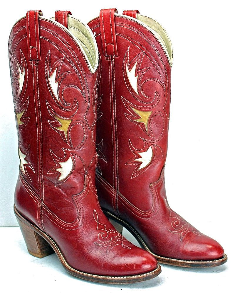 59cfc018e1b Vintage Dingo Womens Cowboy Boots size 7.5 M Red Leather Inlay Cu ...