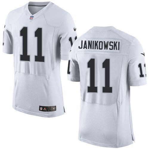 Nike Raiders  11 Sebastian Janikowski White Team Color Men s Stitched NFL  New Elite Jersey 8cac40db4