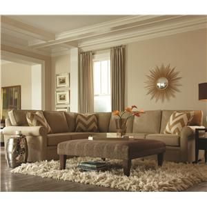 Brentwood Transitional L Shaped Sectional With Rolled Arms By Rowe At  Belfort Furniture