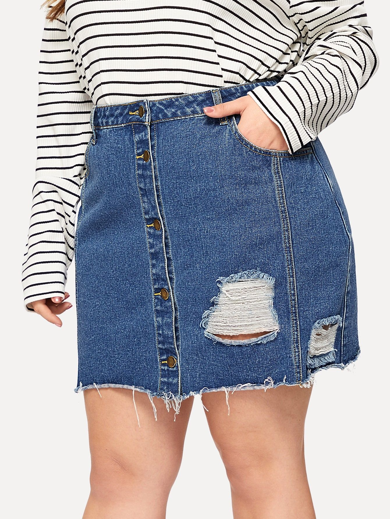 save off buying now best supplier Plus Slant Pocket Button Front Ripped Denim Skirt | CLOTHES ...