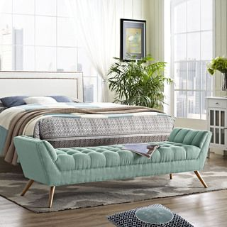 Shop for Response Fabric Mid-century Style Bench. Get free shipping ...