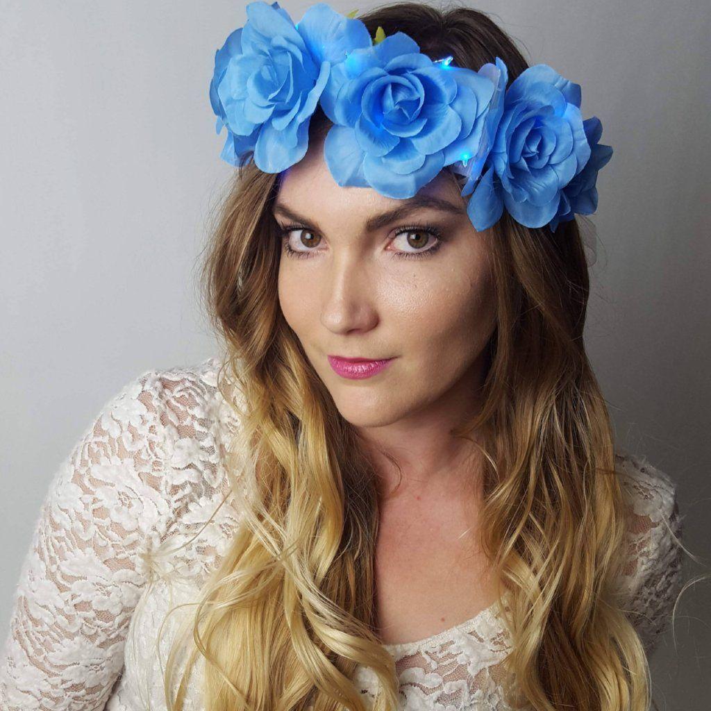 Blue rose light up flower crown flower crown led flower