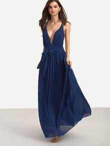 Deep V Neck Tie Waist Full Length Dress