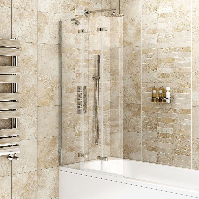 1000mm Folding Bath Shower Glass Bathroom Screen Ibathuk Amazon Co Uk Kitchen Bath Screens Bath Shower Screens Glass Shower