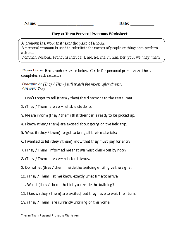 They Or Them Personal Pronouns Worksheet  EnglishlinxCom Board