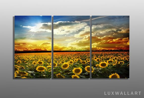Sunflowers Triptych Metal Wall Art Ready to Hang Framed not Canvas ...