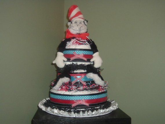 Dr Seuss Cat in The Hat Diaper Cake by sewuniquebaby on Etsy
