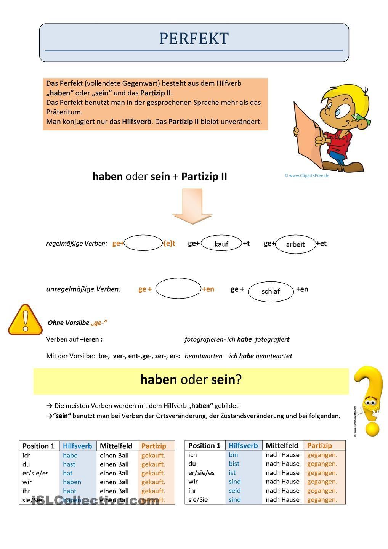 Perfekt - Regel haben und sein | Foreign Languages | Pinterest ...