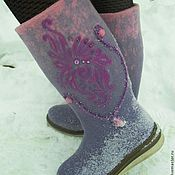 """Обувь ручной работы. Ярмарка Мастеров - ручная работа Валенки для улицы  """"Сиреневый туман"""". Handmade."""