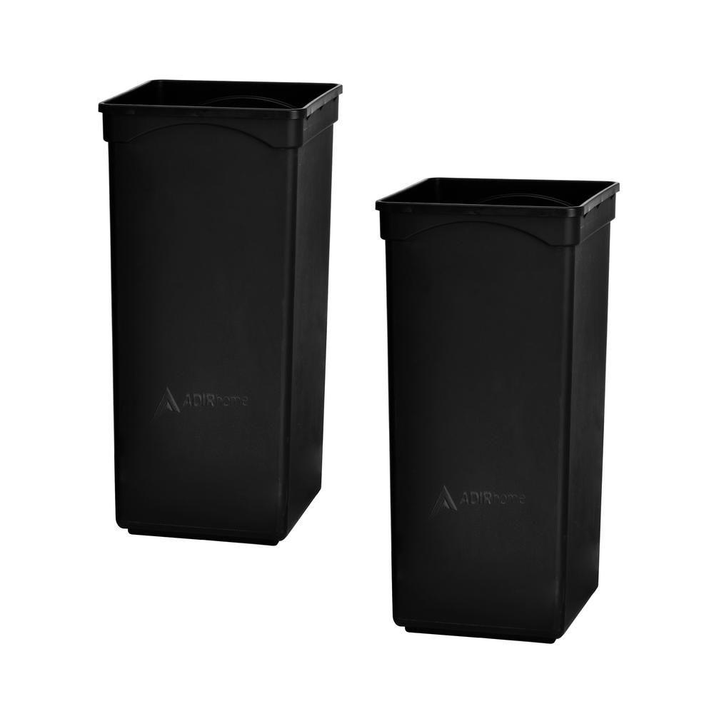 Adirhome 4 7 Gal Black Plastic Waste Basket Trash Can 2 Pack