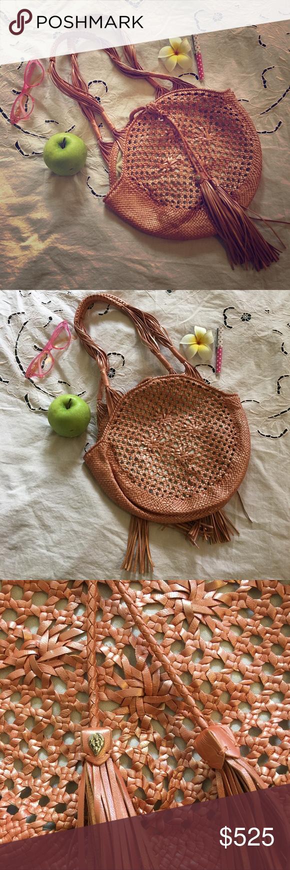 HELEN KAMINSKI woven coppery peach leather purse