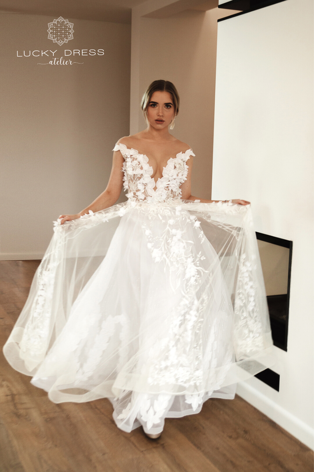3D lace wedding dress Aline with off shoulder, Deep V
