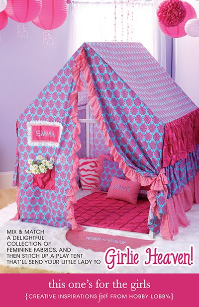 Hobby Lobby Project - This Oneu0027s For The Girls - Girl play tent with directions & Actually build this to the wall where two sides of the